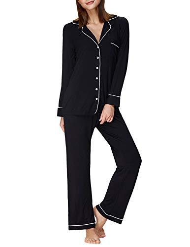 Women Long Pajama Set Notch Collar Tops Contrast Piping Nightie Black M ZE48-1