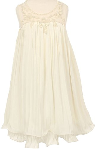 Collection Beaded Neckline Dress - Big Girls Baby Doll Hand Pearl Beaded Pageant Flower Girls Dresses (90C05C) Ivory 12