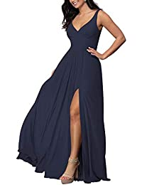 V-neck Long Bridesmaid Dress Chiffon Wedding A-line Prom Dress with Slit Formal Dress