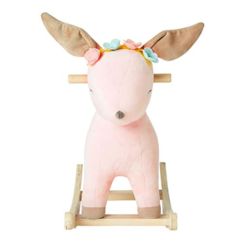 Kids Ride On Rocking Horse, Toddler Girls Rocking Horse, Deer Rocker Toy with 3 Songs for Child 1-3 Years(NO Music)