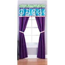 Peace and Love Girls Bedroom Curtain Panel Set