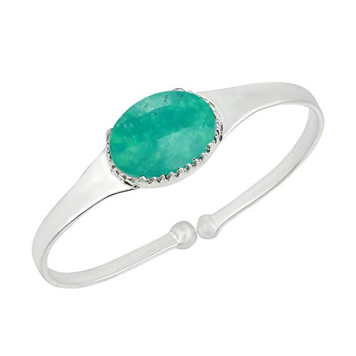 Genuine Oval Shape Turquoise Cuff Bangle 925 Silver Plated Handmade Jewelry for Women Girls