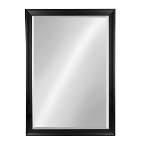 Kate and Laurel Scoop Black 28x40 Framed Beveled Wall Mirror