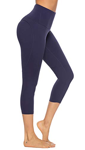 FeelinGirl Women's High Waist Yoga Capri Pants Workout Leggings Tummy Control Non See-Through Blue