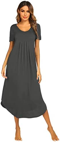 Ekouaer Women's Short Sleeve Long Nightgown Pleated Sleep Dress Soft Nightshirt Sleepwear Lounge Dresses