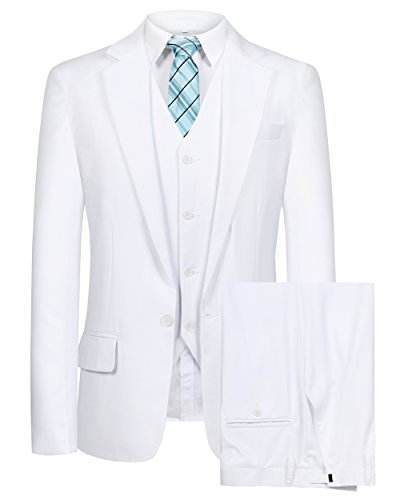 Hanayome Men's Blazer 3 PC Notch Lapel One Button Wedding Dress Solid Suit Vest Pants(White,42) ()