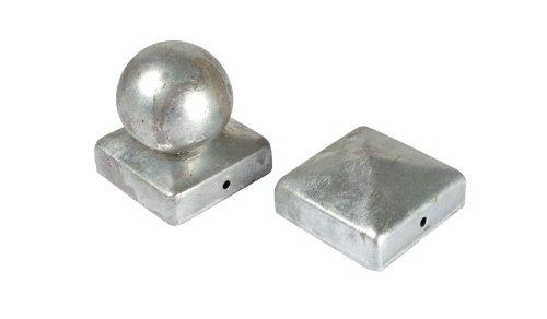 verzinkt im g/ünstigen Aktionsset 10 x Pfostenabdeckung Zaunpfosten Kappen 7 x 7 cm eckig in Pyramide Form aus Stahl