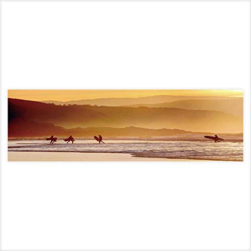 (Leighhome 3D Aquarium Background Surfers and Boogie Boards on Beach at Sunset Fish Tank Wall Decorations Sticker 29.5