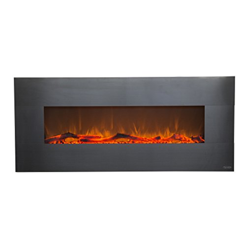 Touchstone 80026 - Stainless Electric Fireplace - (Stainless) - 50 Inch Wide - On-Wall Hanging - Log & Crystal Included - 5 Flame Settings - Realistic Flame - 1500/750W - Timer & Remote