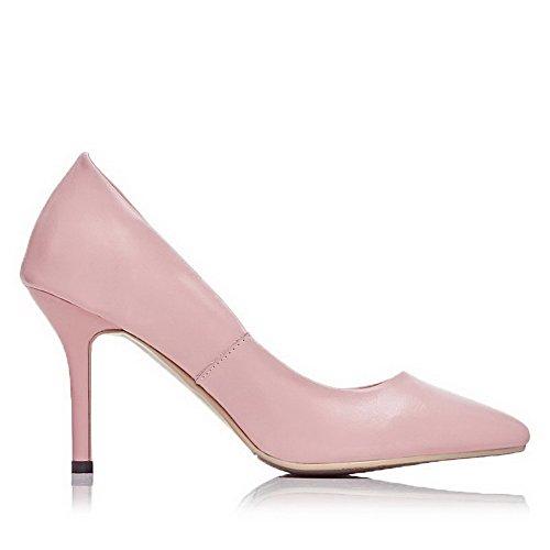 Allhqfashion Dames Solide Spikes Stilettos Trekken Aan Spitse Neus Pumps Schoenen Roze