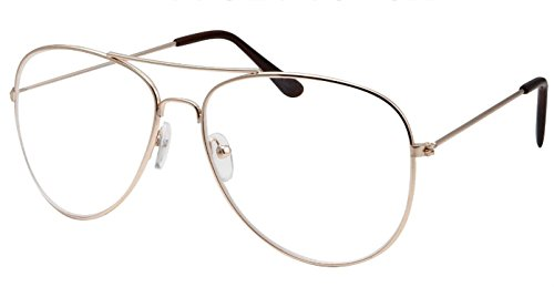 WebDeals - Clear Lens Aviator Eyeglasses Classic Retro Metal Frame (Gold Large, Clear)]()