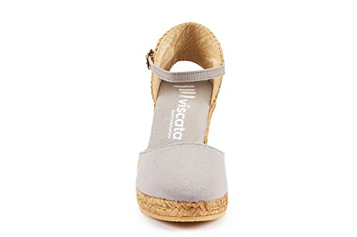Cendre Gris with in Heel Made 3 Spain Strap VISCATA Toe inch Espadrilles Satuna Closed Classic Ankle 0q7awZ