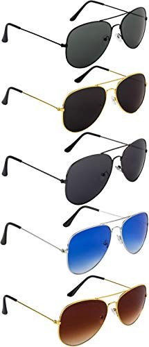 NuVew Combo Pack of 5 Aviator Unisex Sunglasses With Pouch (Multicolor | Medium Size | UV Protection)