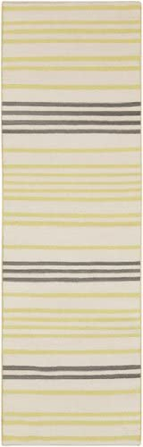 Diva At Home 2.5' x 8' Molti Colpi Yellow-Green and White Woven Wool Area Throw Rug Runner