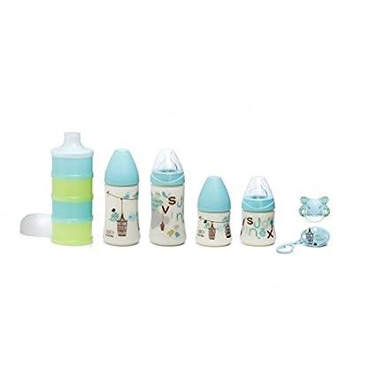 Suavinex Bienvenido Boy Paquete de 4 botellas de bebé Chupete + Clip + Surtido + dispensador