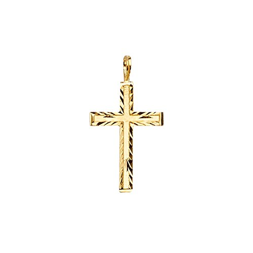 14k Yellow Gold Cross Religious Pendant (Size : 22 x 12 mm)
