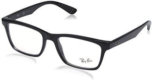 Ray-Ban RX7025 Square Eyeglass Frames, Shiny Black/Demo Lens, 53 ()