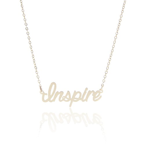 AOLO Small Inspire Engraved Charm Neckless Gift for Friends