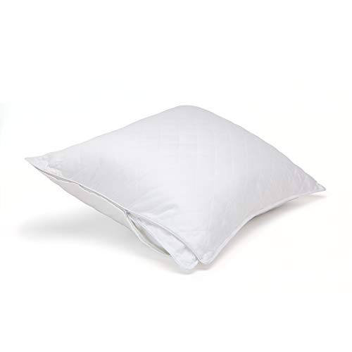 Cotton Sateen Pillow Protector - DOWNLITE Luxury Twin Pack 300 TC Cotton Sateen Quilted Pillow Protector Pillow - Set of 2 (King 20