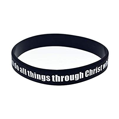 Luziang Silicone Wristbands With Sayings Can All Things Through Christ Rubber Wristbands For Men Encouragement Set Pieces Estimated Price £28.99 -