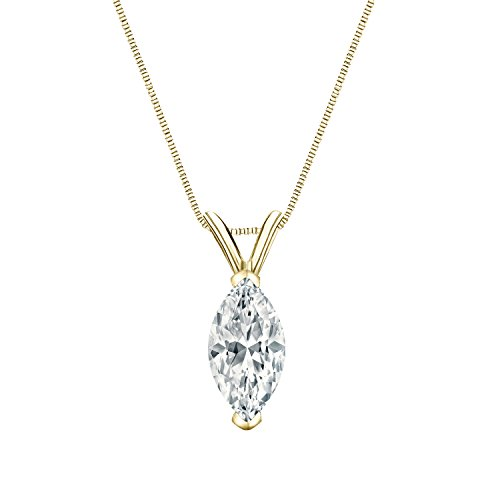 (Diamond Wish 14k Yellow Gold Solitaire Marquise Diamond Pendant (1/4cttw, H-I, I1-I2) V-end with 18-inch Box Chain V-End with 18-inch Box Chain)