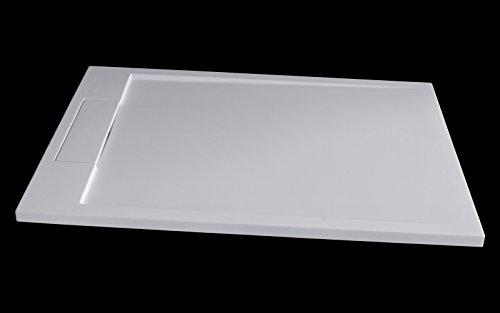 120x90x3,5cm Blanc Brillant Bernstein Badshop Receveur de Douche en Pierre Solide M2290CW//PB3085G Solid Surface