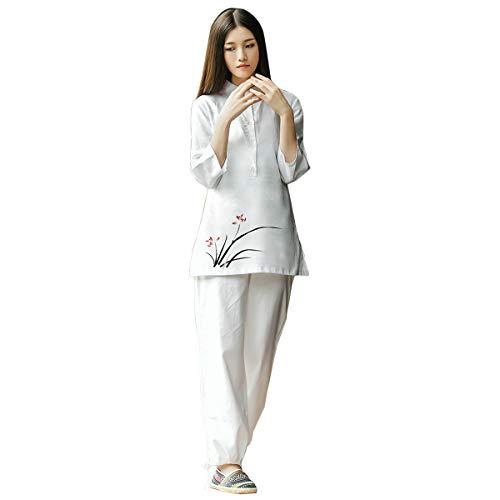 (KSUA Womens Zen Meditation Suit Tai Chi Uniform Chinese Kung Fu Clothing Cotton & Linen Yoga Suit, Orchid US L/Tag XL)