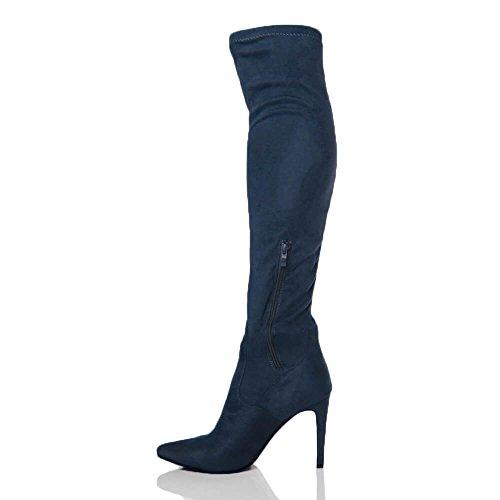 ginocchio Scamosciato Donna marino tacco stivali il alto blu taglia sopra alta coscia elasticizzato scuro SBnHASv8