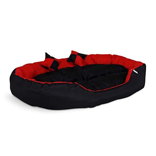 Cama para Perros 4 en 1, con cojín Reversible (110 x 80 cm), Color Rojo y Negro