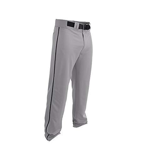 EASTON RIVAL 2 Baseball Softball Pant | Youth | Small | Grey Black | 2020 | Double Reinforced Knee | Elastic Waistband w/ 2 Color Internal Easton Logo | 2 Batting Glove Pockets | 100% Polyester