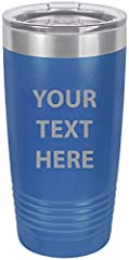 """Add your own custom text travel mug with. Ideal gifts for all types of holidays including CHRISTMAS, BIRTHDAYS, FATHER'S DAY, MOTHER""""S DAY, VALENTINES DAY, WEDDINGS, ANNIVERSARIES, AND MORE! A insulated travel mug with custom text with a name..."""