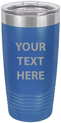 (Personalized Add Your Custom Text Insulated Tumbler 20 Oz Coffee Mug Customizable (Blue))