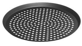 LloydPans Perforated Pizza Cutter Pan, Pre-Seasoned PSTK, Anodized Aluminum, 16 Inch by .75 Inch deep, Case of 12