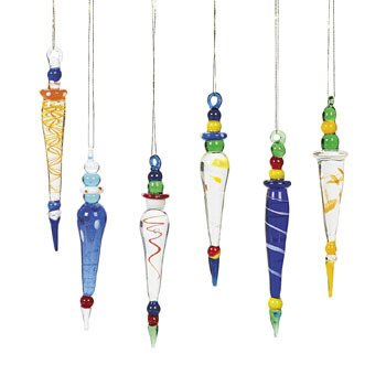 Oriental Trading Company Glass Icicle, Multi Color, 12 -