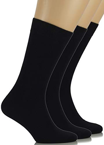 Hugh Ugoli Women's Dress Socks Bamboo Viscose Crew Socks - Black (Shoe size: 6-9)