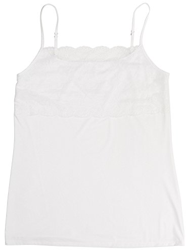 (Jockey Women's Tops No Panty Line Promise Tactel Nylon Lace Camisole, white, M)