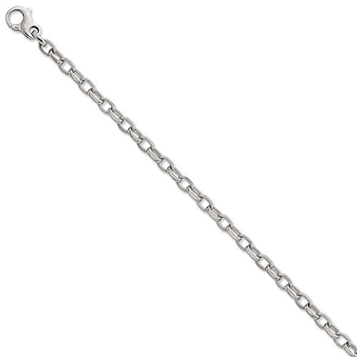 Or blanc 14carats 5.0mm strié Fancy-Bracelet Femme-Homard Griffe-23cm