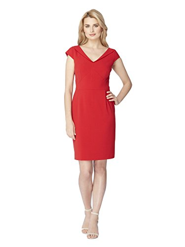 Tahari By ASL Petite V-Collar Bi-Stretch Sheath Dress Tomato Red Size (Red Petite Tomato)