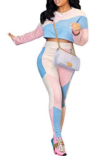 Velour Tracksuit Womens Slim Fit Crop Tops and Pants Sport Jogging Jog Set Pink S -
