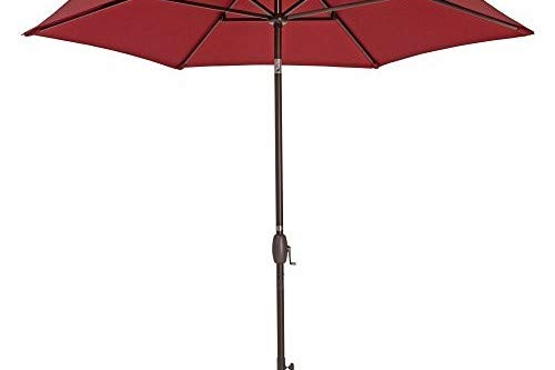 Patio Umbrella - TrueShade Plus Market Umbrella Garden Parasol with Push Button Tilt and Crank Includes Storage Cover - Freestanding or Table Hole. - 9' Diameter - Jockey Red