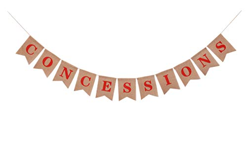 Carnival Concessions Banner for Kids Boys Girls Adults-Sports Theme Party Decorations and Supplies-Rustic Fiesta Stand Sign for Baseball Football Soccer Basketball Happy Birthday Decor as Christmas Thanksgiving Photo Booth
