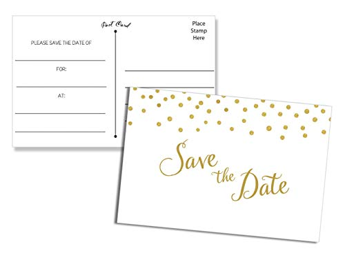 50 Save the Date Postcards Gold Confetti - Fill in the Blank ()