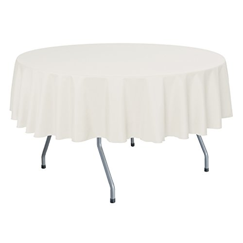 Ultimate Textile (10 Pack) 60-Inch Round Polyester Linen Tablecloth - for Wedding, Restaurant or Banquet use, Oyster (Table Oyster)