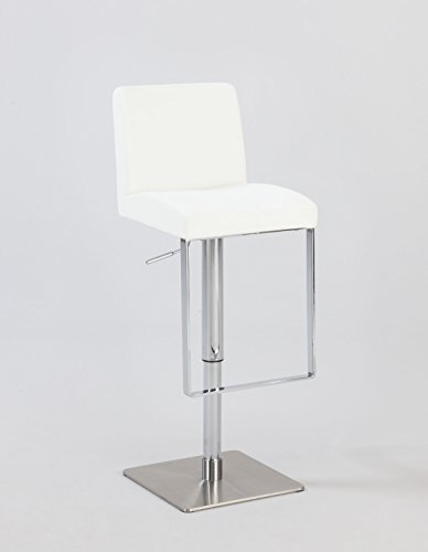MILAN WHT Sana Adjustable Height Swivel Stool, White