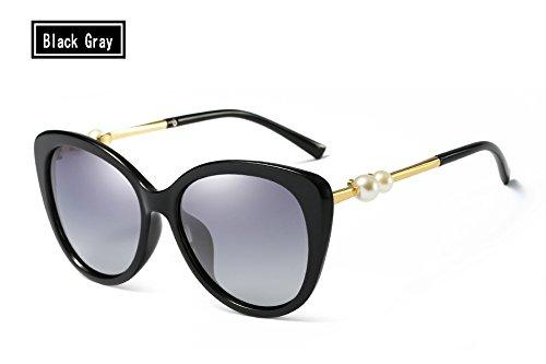 black Gafas Mujer Sol gray Azul Espejo Perla polarizado UV400 de Sunglasses Negro TL xTPqnX4P