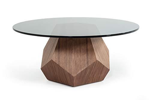 - Modrest Rackham Modern Walnut & Smoked Glass Coffee Table