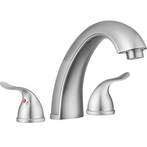 (Treviso Roman Tub Faucet by Pacific Bay (Brushed Satin Nickel) - Features Classically Designed Winged Levers and Arced Spout - New 2019 Model)