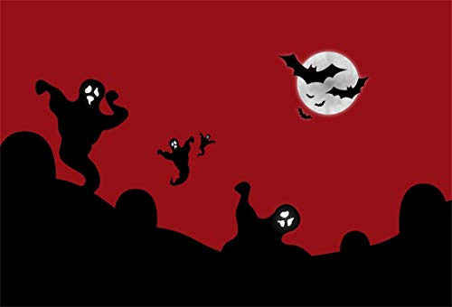 Leyiyi 10x8ft Cartoon Happy Halloween Backdrop Gothic Ghost Grunge Graveyard Grave Stone Bloody Sky Bats Fly Full Moon Photography Background Horror Costume Carnival Photo Studio Prop Vinyl Banner