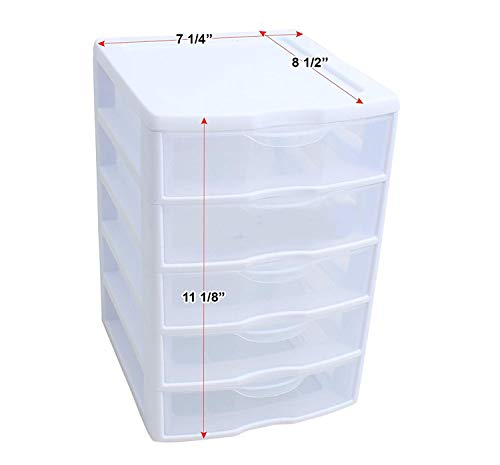 Drawer Acrylic Storage Chest - 5 Drawer Tower Plastic Organizer Storage Office Cabinet Box Furniture Dresser