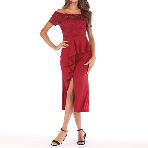 One Shoulder Lace,Youngh Fashion Women One Shoulder Lace Splice Off Shouder Casual Long Dress Red by Youngh Dress (Image #2)